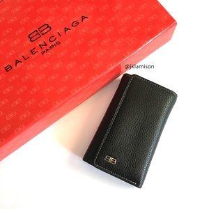 Balenciaga Trifold Leather Key Case Wallet
